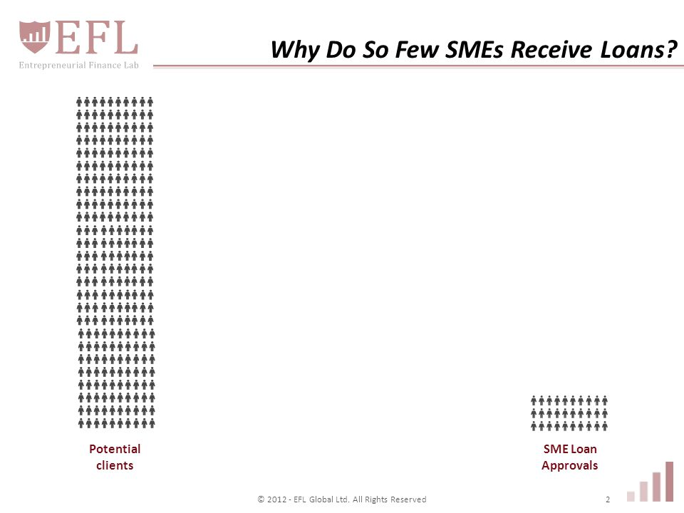 Why Do So Few SMEs Receive Loans. Potential clients © 2012 - EFL Global Ltd.