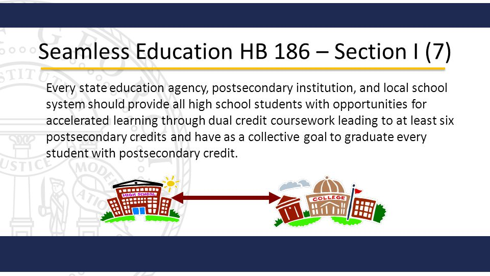 Seamless Education HB 186 – Section I (7) Every state education agency, postsecondary institution, and local school system should provide all high sch