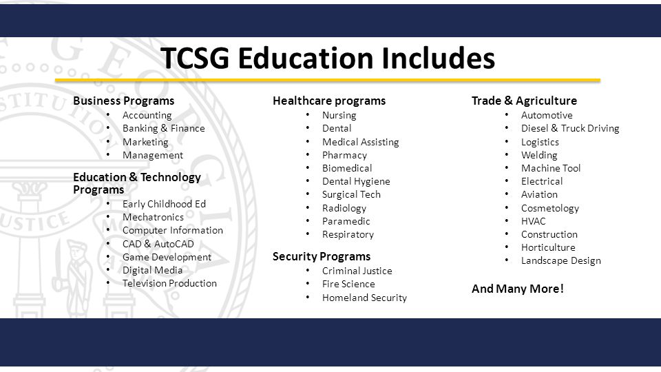 TCSG Education Includes Business Programs Accounting Banking & Finance Marketing Management Education & Technology Programs Early Childhood Ed Mechatr