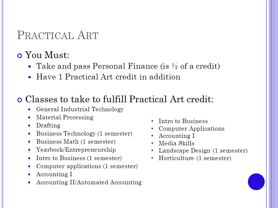 P RACTICAL A RT You Must: Take and pass Personal Finance (is ½ of a credit) Have 1 Practical Art credit in addition Classes to take to fulfill Practical Art credit: General Industrial Technology Material Processing Drafting Business Technology (1 semester) Business Math (1 semester) Yearbook/Entrepreneurship Intro to Business (1 semester) Computer applications (1 semester) Accounting I Accounting II/Automated Accounting Intro to Business Computer Applications Accounting I Media Skills Landscape Design (1 semester) Horticulture (1 semester)