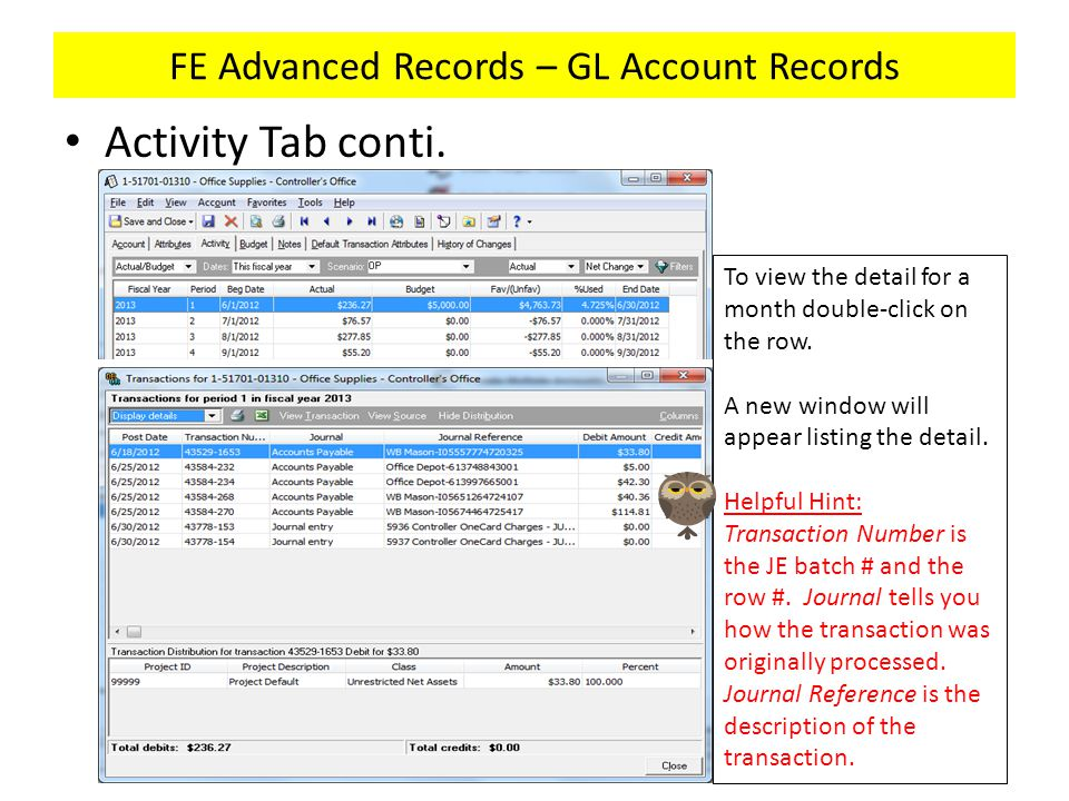 FE Advanced Records – GL Account Records Activity Tab conti. To view the detail for a month double-click on the row. A new window will appear listing