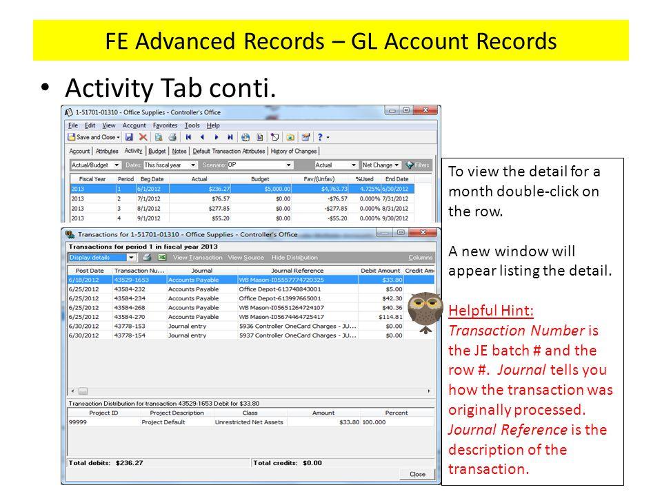 FE Advanced Records – GL Account Records Activity Tab conti.