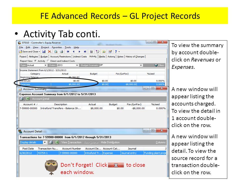 FE Advanced Records – GL Project Records Activity Tab conti.