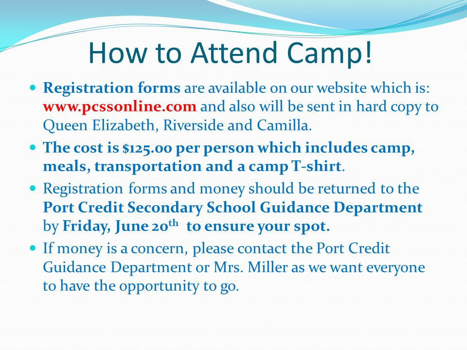 How to Attend Camp.