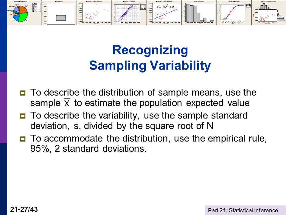 Part 21: Statistical Inference 21-27/43 Recognizing Sampling Variability To describe the distribution of sample means, use the sample to estimate the population expected value To describe the variability, use the sample standard deviation, s, divided by the square root of N To accommodate the distribution, use the empirical rule, 95%, 2 standard deviations.