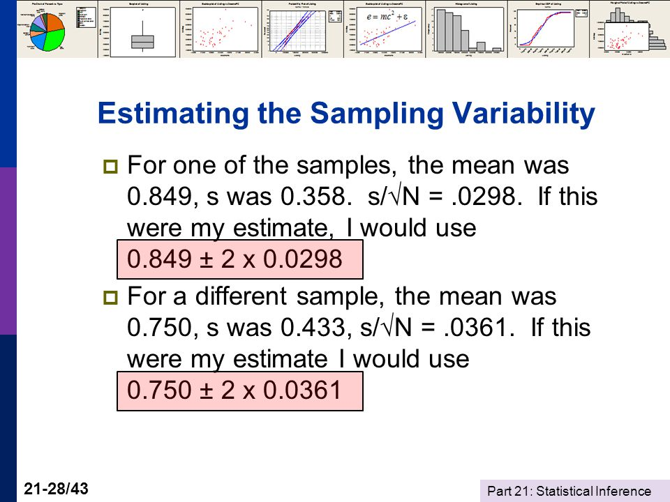 Part 21: Statistical Inference 21-28/43 Estimating the Sampling Variability For one of the samples, the mean was 0.849, s was 0.358.