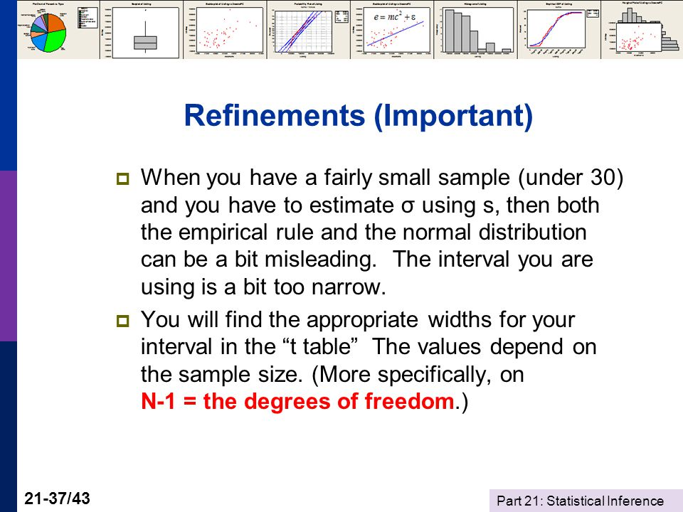 Part 21: Statistical Inference 21-37/43 Refinements (Important) When you have a fairly small sample (under 30) and you have to estimate σ using s, then both the empirical rule and the normal distribution can be a bit misleading.