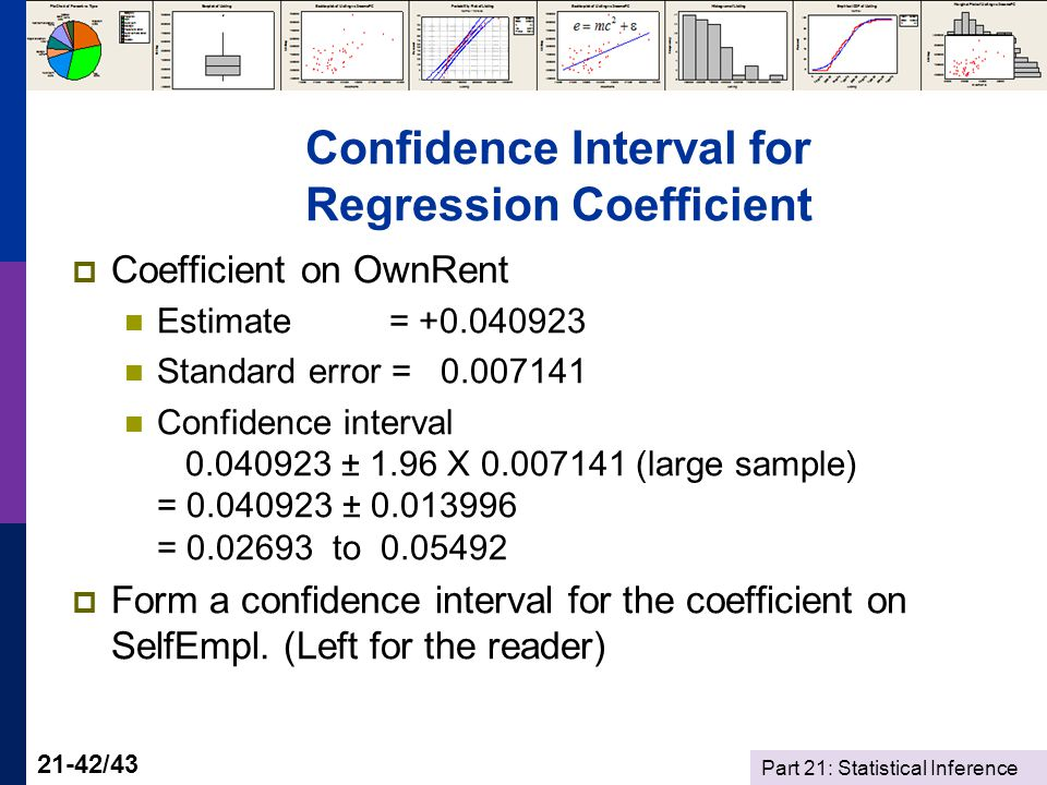 Part 21: Statistical Inference 21-42/43 Confidence Interval for Regression Coefficient Coefficient on OwnRent Estimate = +0.040923 Standard error = 0.007141 Confidence interval 0.040923 ± 1.96 X 0.007141 (large sample) = 0.040923 ± 0.013996 = 0.02693 to 0.05492 Form a confidence interval for the coefficient on SelfEmpl.