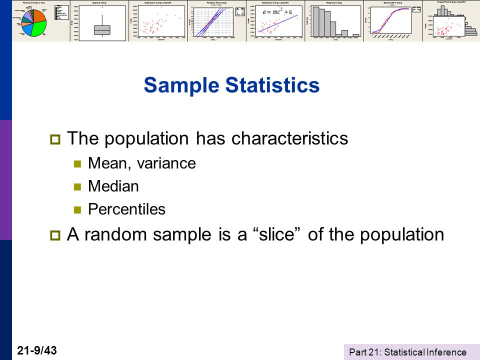 Part 21: Statistical Inference 21-9/43 Sample Statistics The population has characteristics Mean, variance Median Percentiles A random sample is a slice of the population