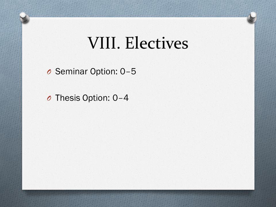 VIII. Electives O Seminar Option: 0–5 O Thesis Option: 0–4