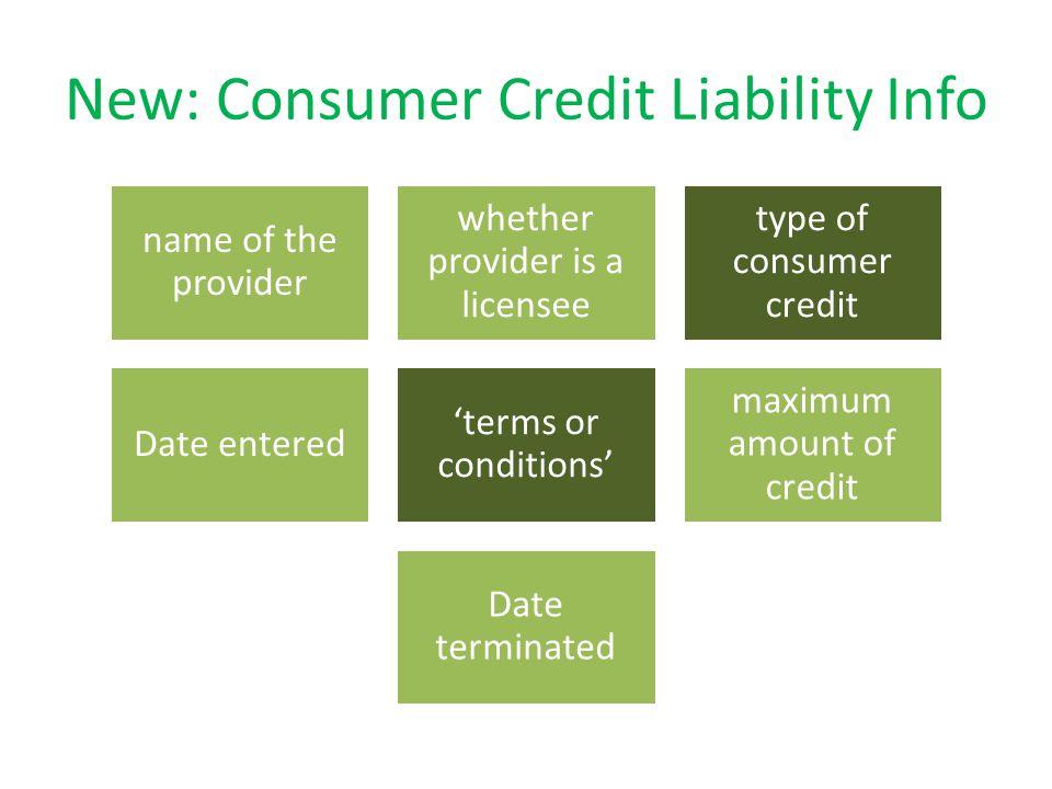 New: Consumer Credit Liability Info