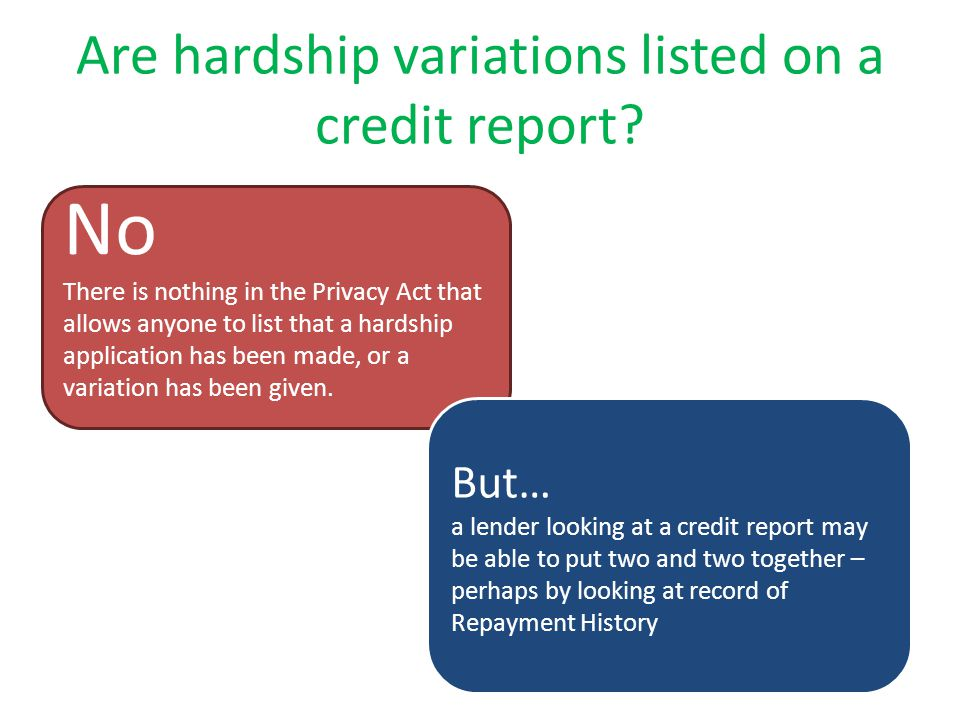 Are hardship variations listed on a credit report.