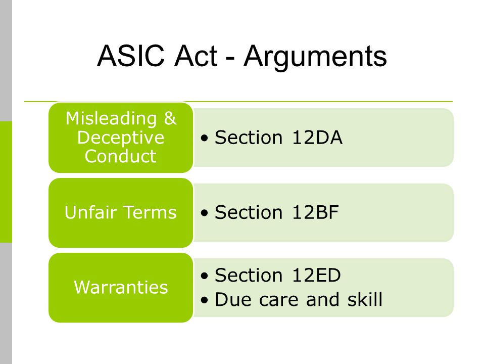 ASIC Act - Arguments Section 12DA Misleading & Deceptive Conduct Section 12BF Unfair Terms Section 12ED Due care and skill Warranties