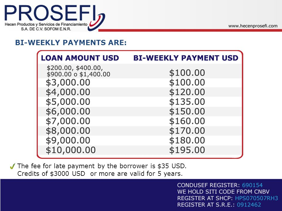 BI-WEEKLY PAYMENTS ARE: The fee for late payment by the borrower is $35 USD.