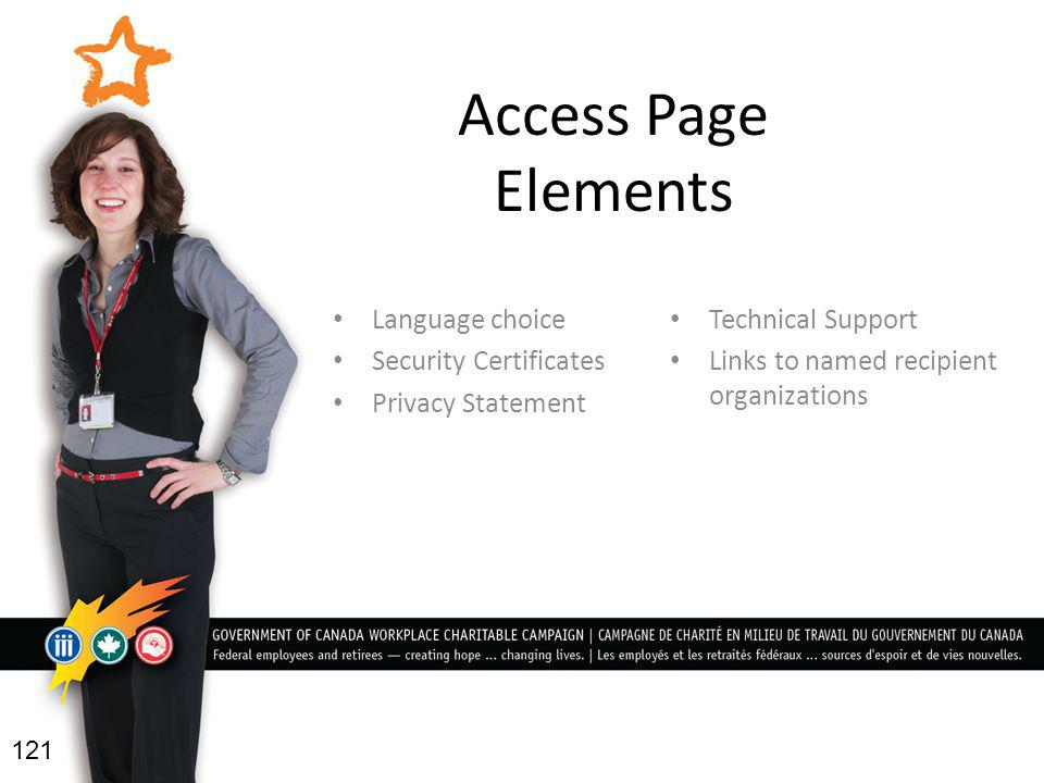 Access Page Elements Language choice Security Certificates Privacy Statement Technical Support Links to named recipient organizations 121