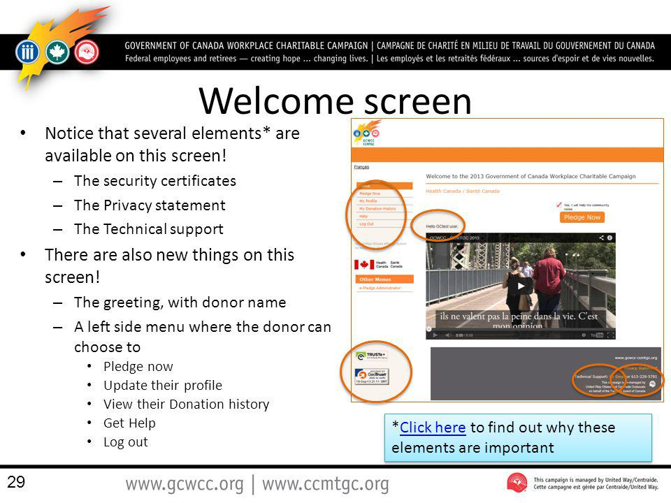 Welcome screen Notice that several elements* are available on this screen! – The security certificates – The Privacy statement – The Technical support