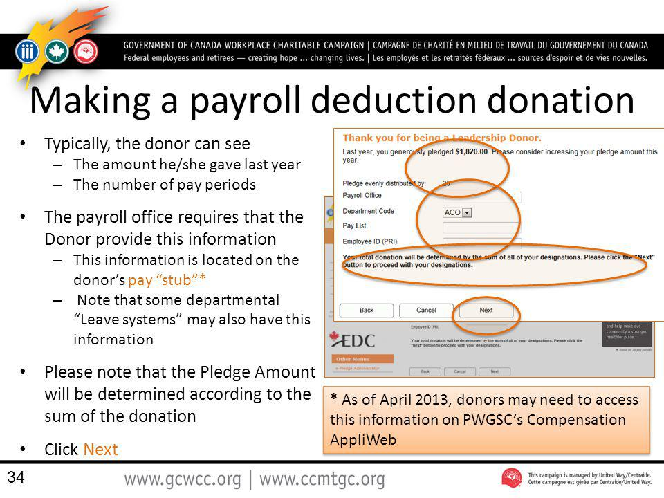 Typically, the donor can see – The amount he/she gave last year – The number of pay periods The payroll office requires that the Donor provide this in