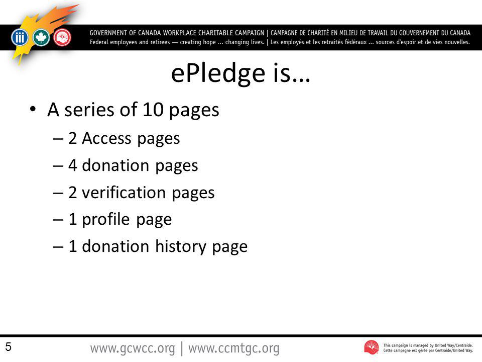 ePledge is… A series of 10 pages – 2 Access pages – 4 donation pages – 2 verification pages – 1 profile page – 1 donation history page 5