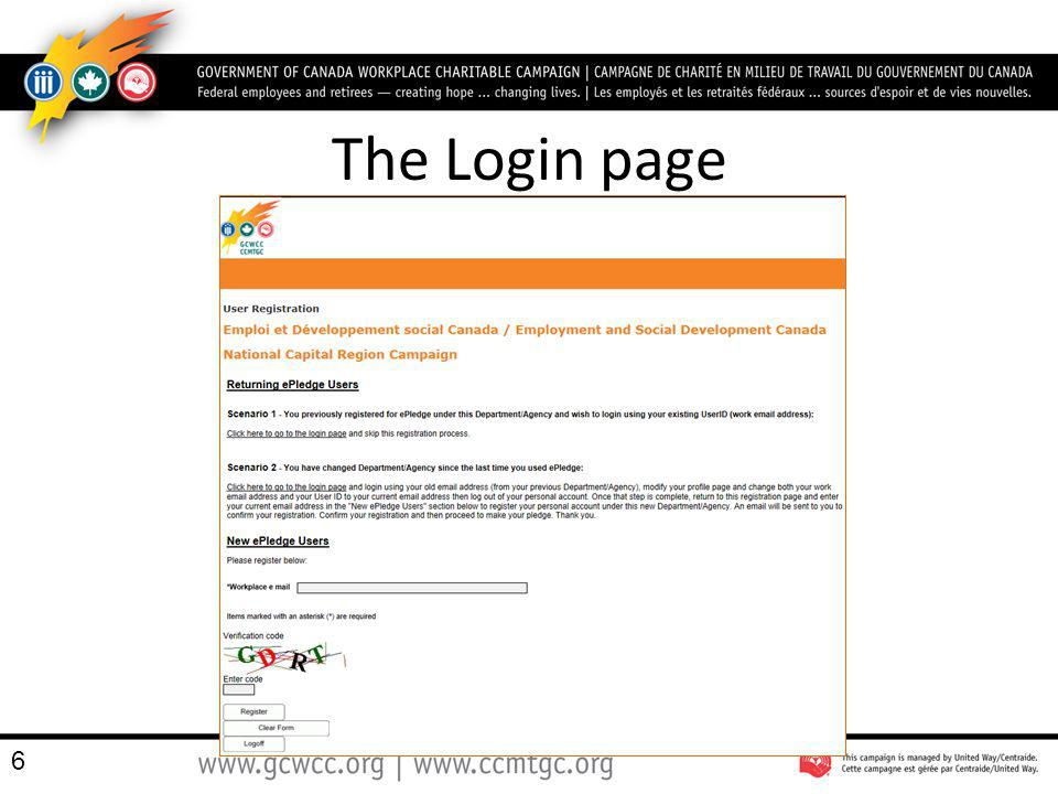 The Login page 6
