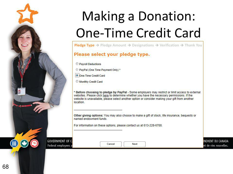 Making a Donation: One-Time Credit Card 68