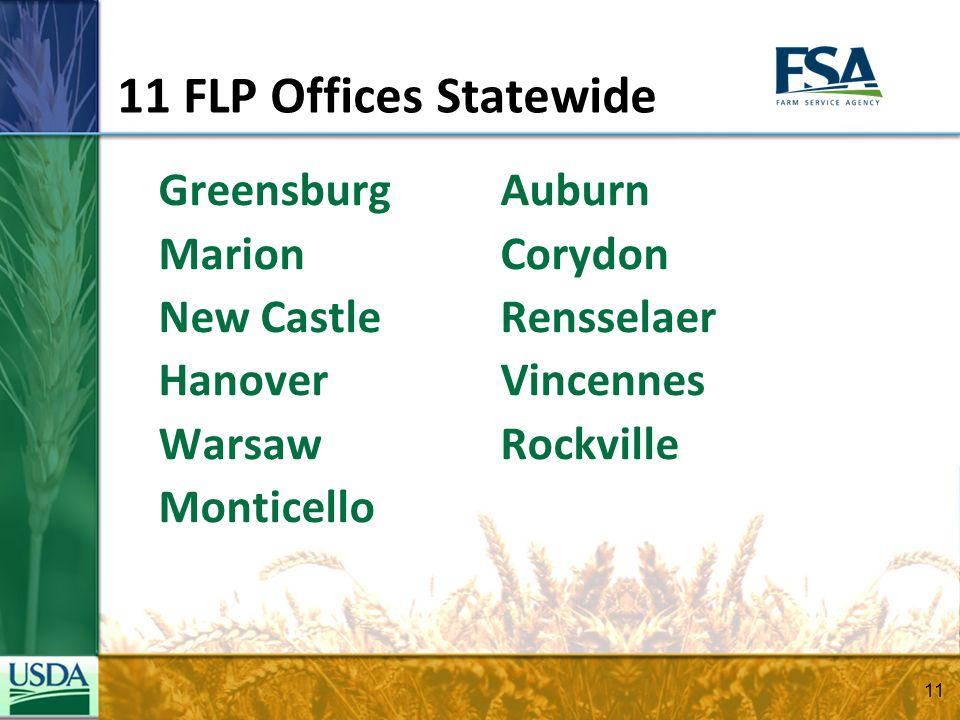 11 FLP Offices Statewide GreensburgAuburn MarionCorydon New CastleRensselaer HanoverVincennes WarsawRockville Monticello 11