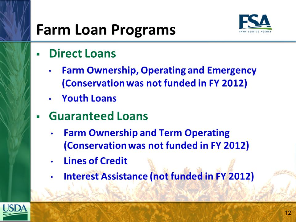 Farm Loan Programs Direct Loans Farm Ownership, Operating and Emergency (Conservation was not funded in FY 2012) Youth Loans Guaranteed Loans Farm Own