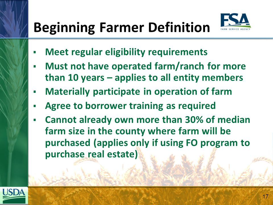 Beginning Farmer Definition Meet regular eligibility requirements Must not have operated farm/ranch for more than 10 years – applies to all entity mem