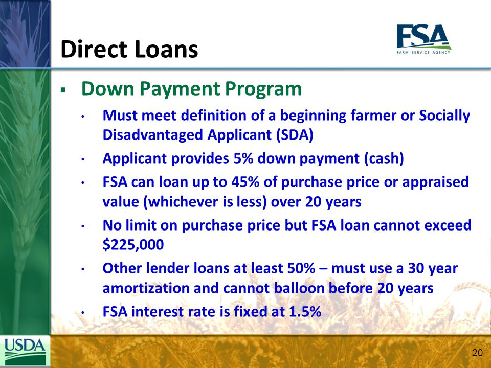 Direct Loans Down Payment Program Must meet definition of a beginning farmer or Socially Disadvantaged Applicant (SDA) Applicant provides 5% down paym