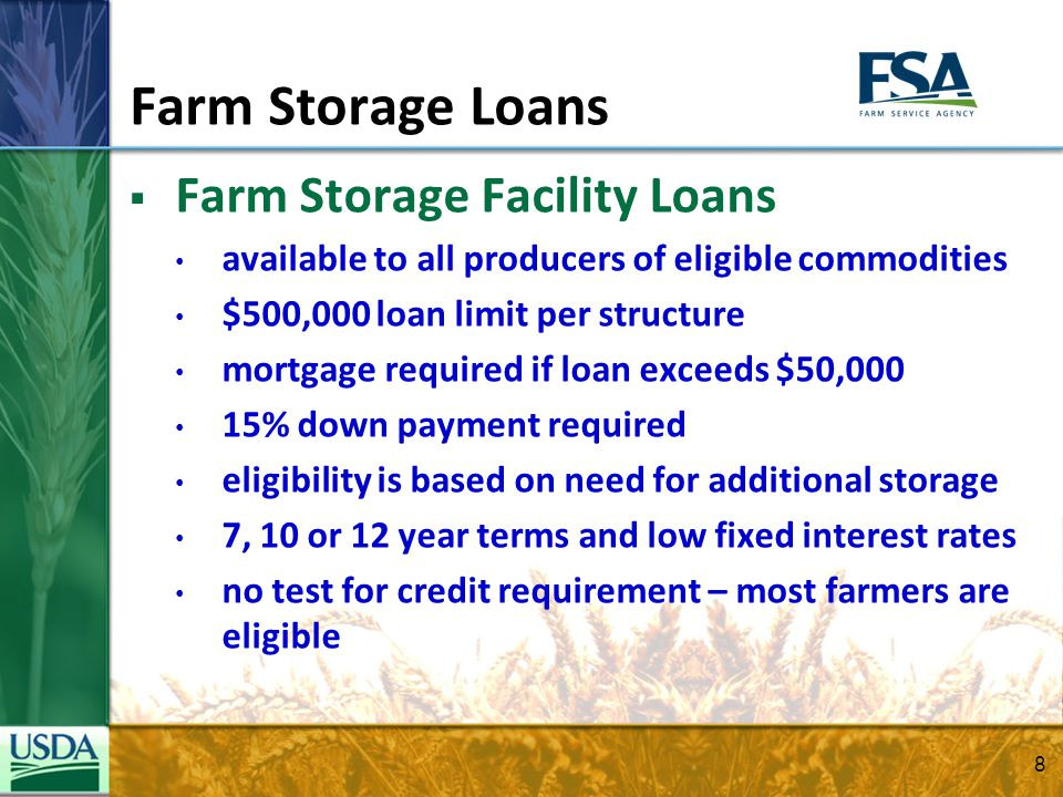 Farm Storage Loans Farm Storage Facility Loans available to all producers of eligible commodities $500,000 loan limit per structure mortgage required