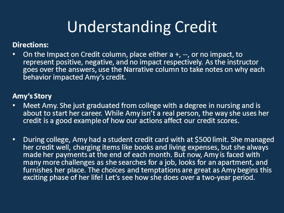Understanding Credit Directions: On the Impact on Credit column, place either a +, --, or no impact, to represent positive, negative, and no impact re