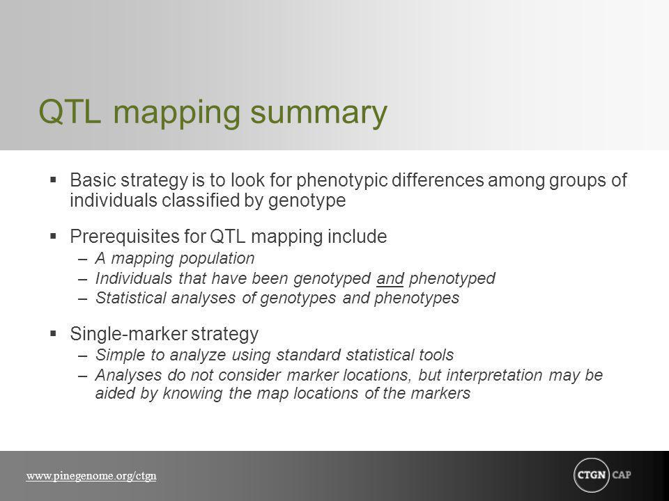 www.pinegenome.org/ctgn QTL mapping summary Basic strategy is to look for phenotypic differences among groups of individuals classified by genotype Prerequisites for QTL mapping include –A mapping population –Individuals that have been genotyped and phenotyped –Statistical analyses of genotypes and phenotypes Single-marker strategy –Simple to analyze using standard statistical tools –Analyses do not consider marker locations, but interpretation may be aided by knowing the map locations of the markers