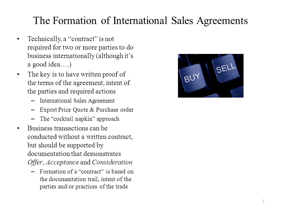 Technically, a contract is not required for two or more parties to do business internationally (although its a good idea….) The key is to have written