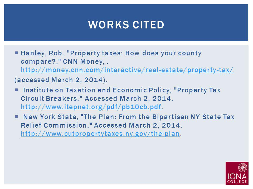 Hanley, Rob. Property taxes: How does your county compare . CNN Money,.