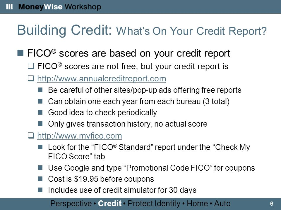6 Building Credit: Whats On Your Credit Report.