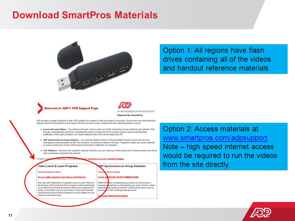 Download SmartPros Materials 11 Option 1: All regions have flash drives containing all of the videos and handout reference materials Option 2: Access materials at www.smartpros.com/adpsupport www.smartpros.com/adpsupport Note – high speed internet access would be required to run the videos from the site directly.