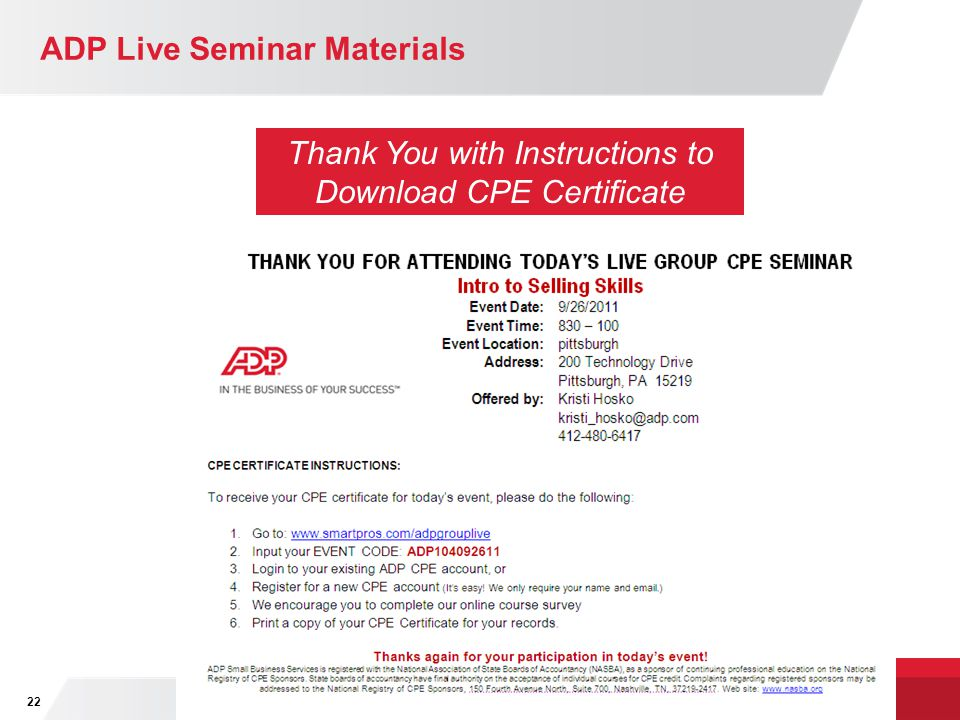 ADP Live Seminar Materials 22 Thank You with Instructions to Download CPE Certificate