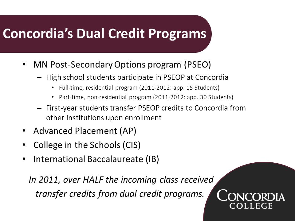 MN Post-Secondary Options program (PSEO) – High school students participate in PSEOP at Concordia Full-time, residential program ( : app.