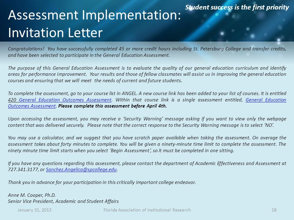 Student success is the first priority Assessment Implementation: Invitation Letter Congratulations.