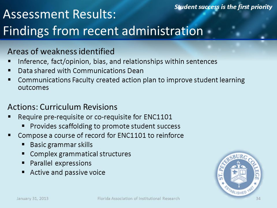 Student success is the first priority Areas of weakness identified Inference, fact/opinion, bias, and relationships within sentences Data shared with Communications Dean Communications Faculty created action plan to improve student learning outcomes Actions: Curriculum Revisions Require pre-requisite or co-requisite for ENC1101 Provides scaffolding to promote student success Compose a course of record for ENC1101 to reinforce Basic grammar skills Complex grammatical structures Parallel expressions Active and passive voice January 31, 2013Florida Association of Institutional Research34 Assessment Results: Findings from recent administration