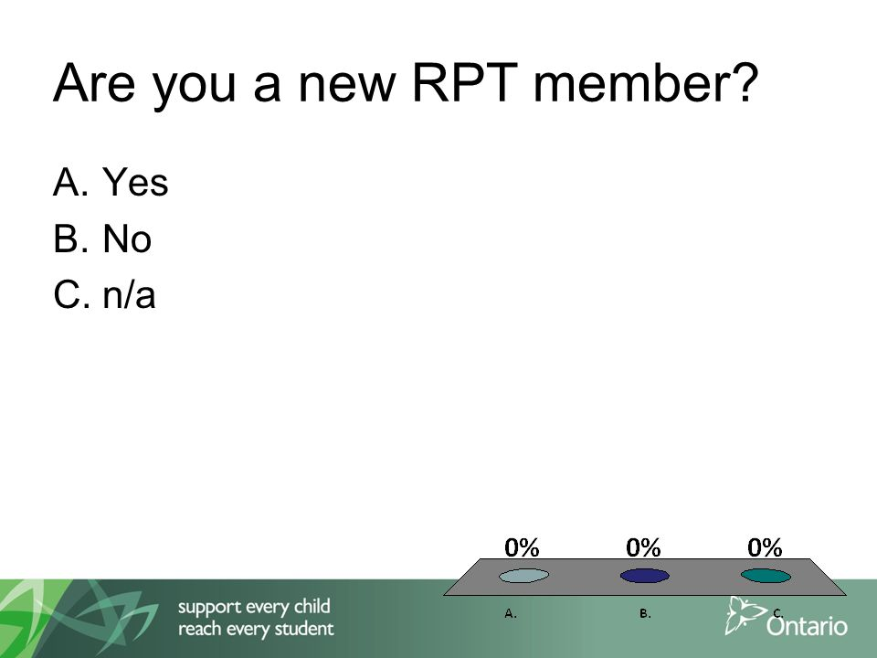 Are you a new RPT member A.Yes B.No C.n/a