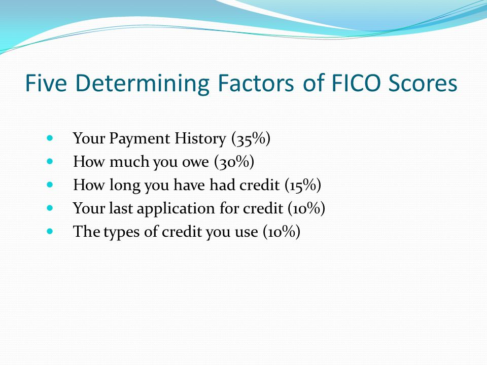 Five Determining Factors of FICO Scores Your Payment History (35%) How much you owe (30%) How long you have had credit (15%) Your last application for credit (10%) The types of credit you use (10%)