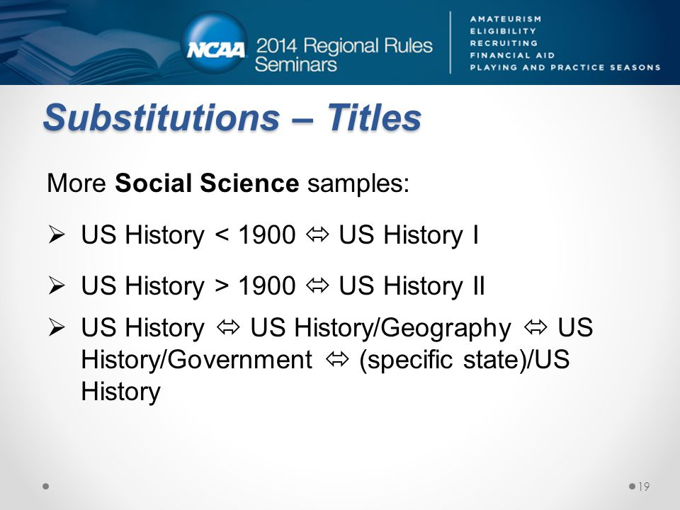 Substitutions – Titles More Social Science samples: US History < 1900 US History I US History > 1900 US History II US History US History/Geography US History/Government (specific state)/US History 19
