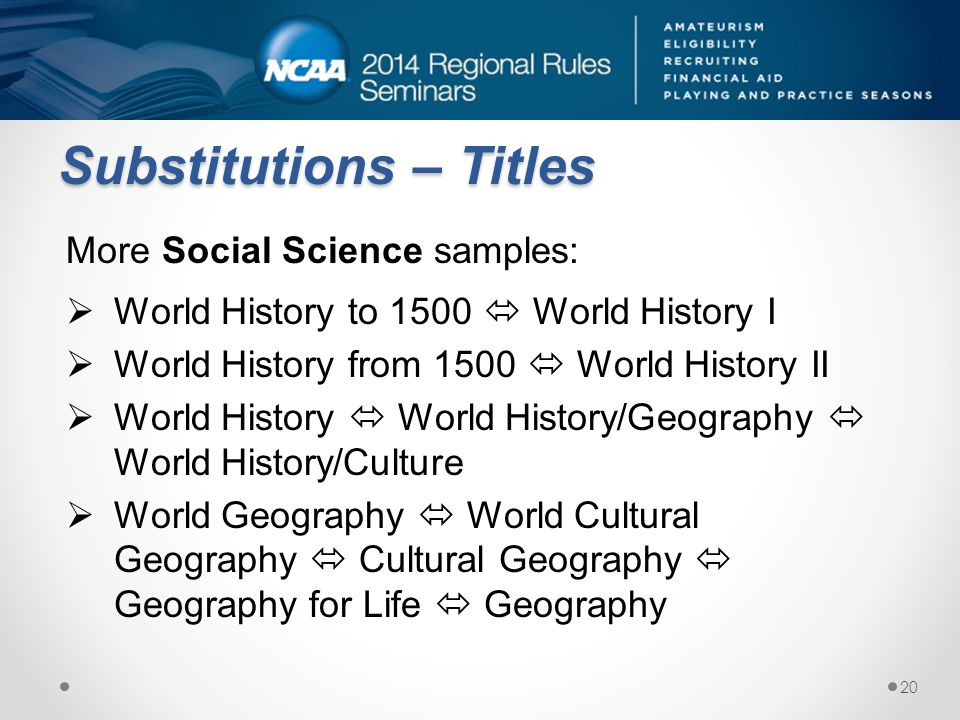 Substitutions – Titles More Social Science samples: World History to 1500 World History I World History from 1500 World History II World History World History/Geography World History/Culture World Geography World Cultural Geography Cultural Geography Geography for Life Geography 20