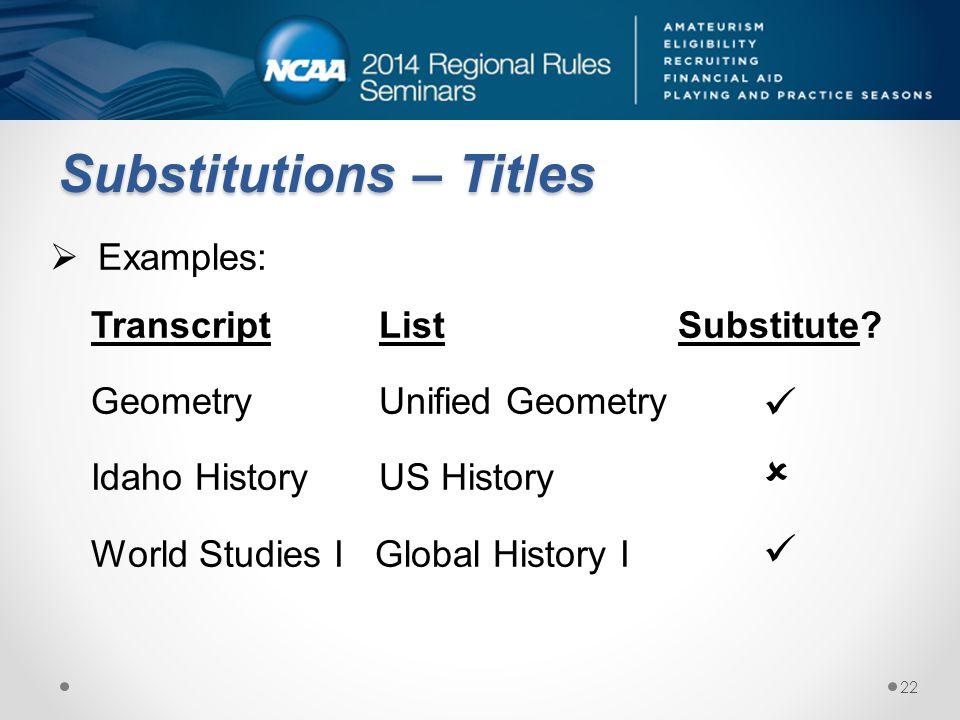 Substitutions – Titles Examples: Transcript List Substitute.