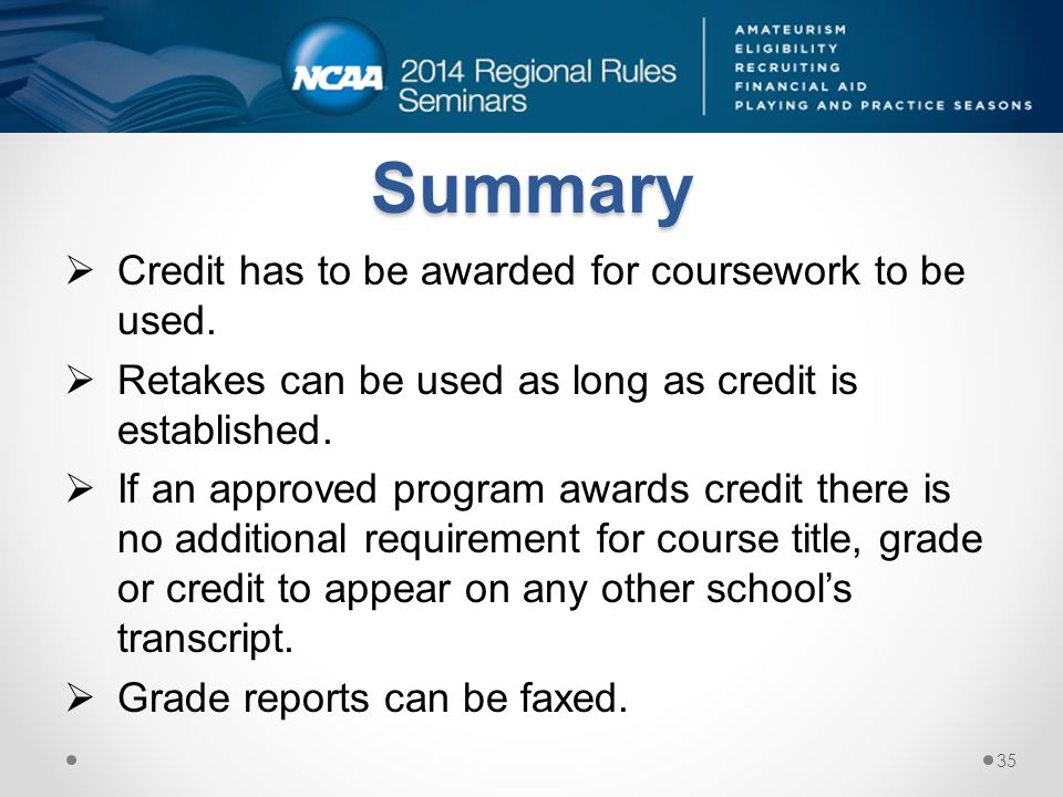 Summary Credit has to be awarded for coursework to be used.