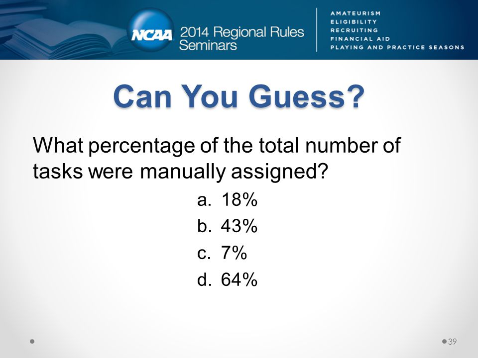 Can You Guess. What percentage of the total number of tasks were manually assigned.