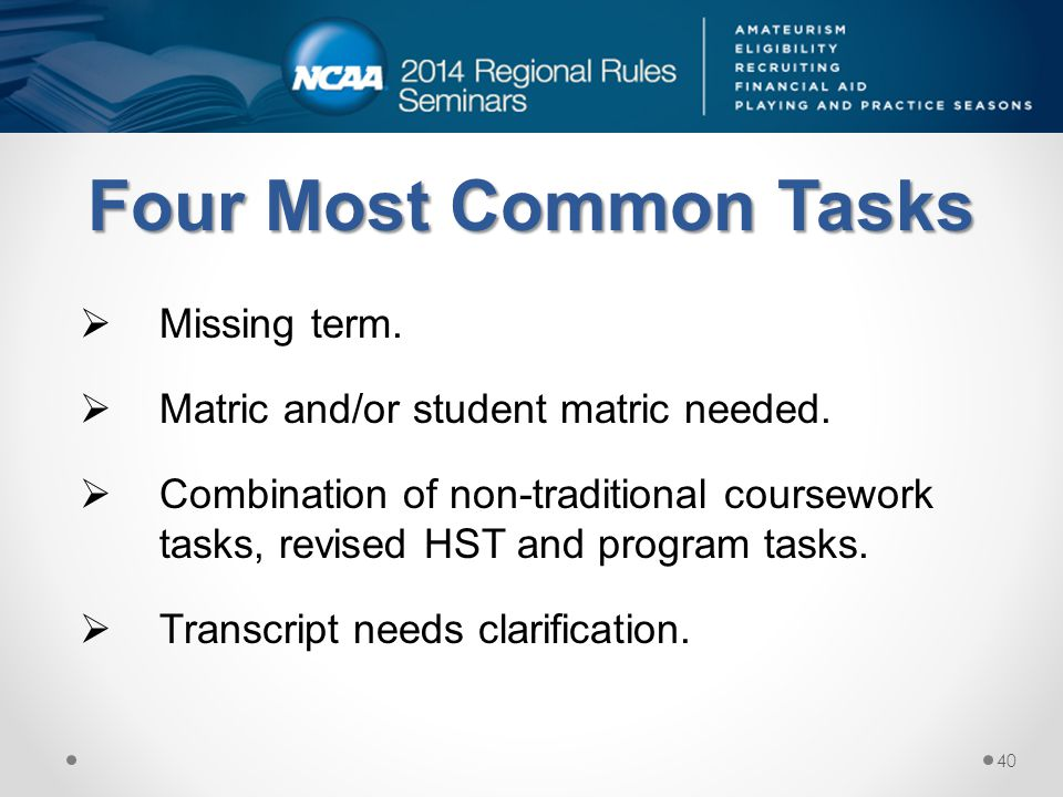 Four Most Common Tasks Missing term. Matric and/or student matric needed.