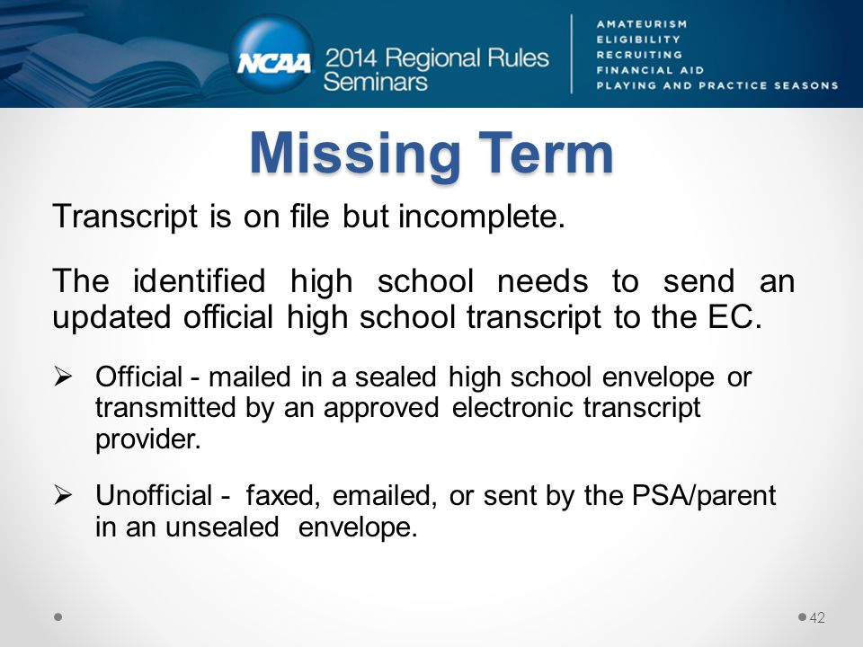 Missing Term Transcript is on file but incomplete.