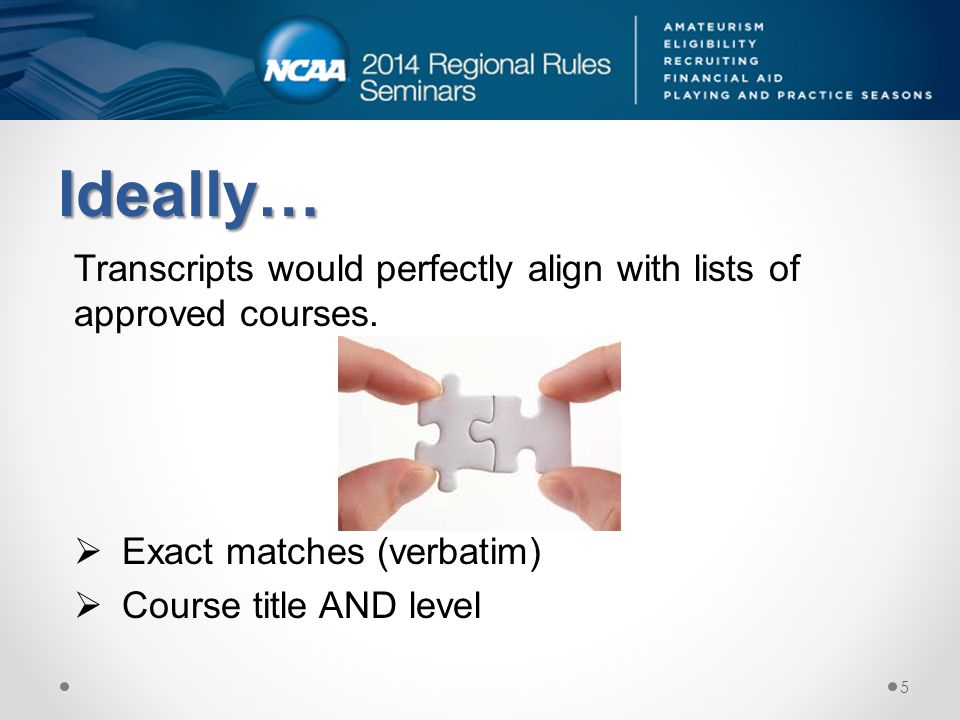 Ideally… Transcripts would perfectly align with lists of approved courses.