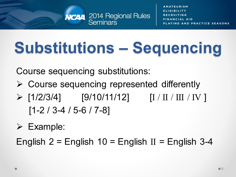 Substitutions – Sequencing Course sequencing substitutions: Course sequencing represented differently [1/2/3/4] [9/10/11/12] [ I / II / III / IV ] [1-2 / 3-4 / 5-6 / 7-8] Example: English 2 = English 10 = English II = English 3-4 9